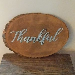 Wooden Galvinized Thankful Decor Oval Sign Rustic
